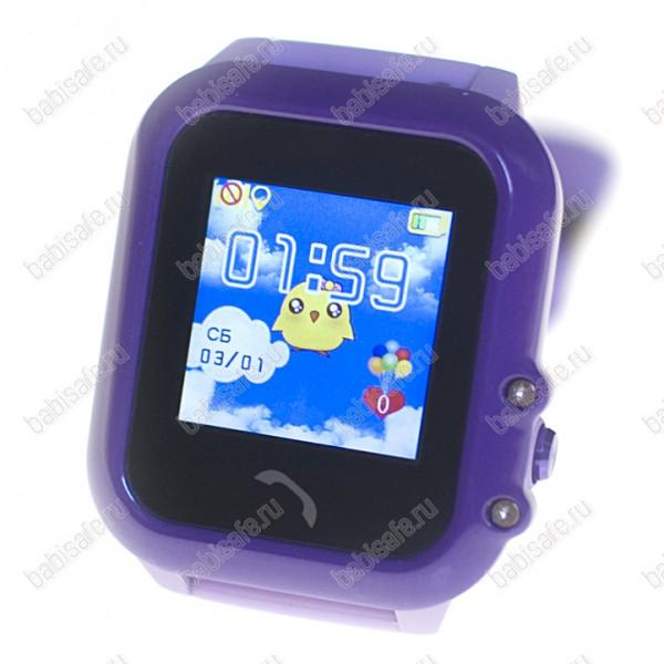 Детские водостойкие часы телефон с gps трекером GW400E фиолетовые