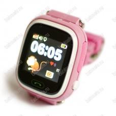 Детские часы телефон с gps трекером GW100 Smart baby watch Q80 розовые