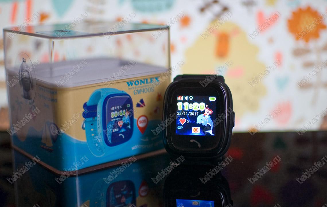 Водонепроницаемые часы телефон с gps трекером GW400S черные