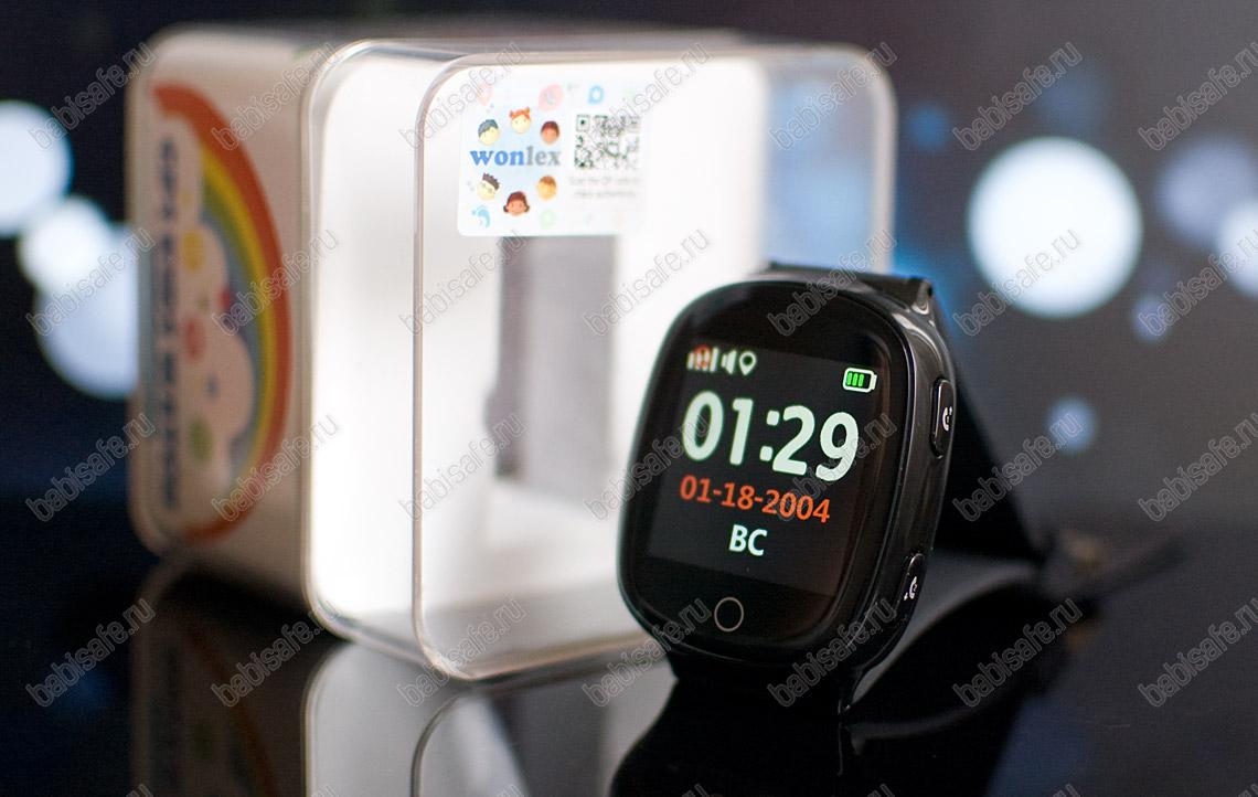Часы телефон с gps трекером и пульсометром EW100S Wonlex черные