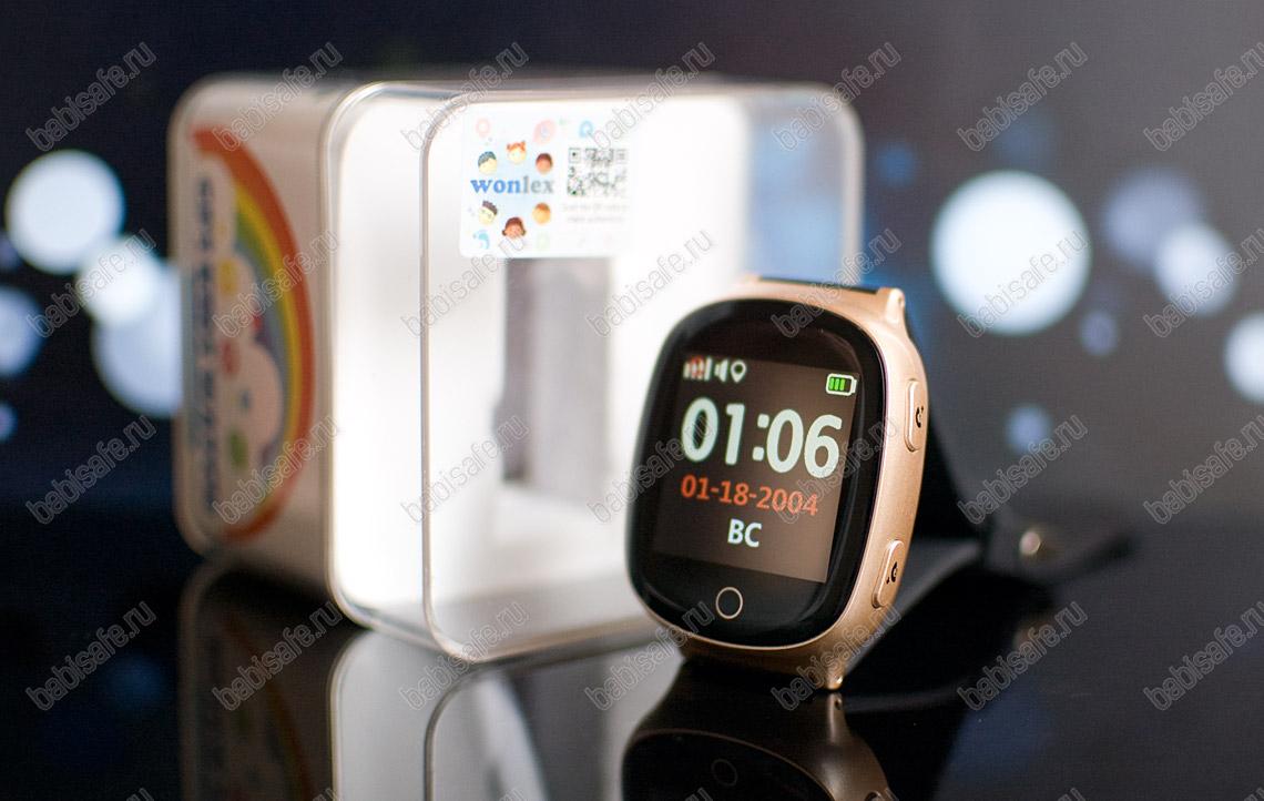 Часы телефон с gps трекером и пульсометром EW100S Wonlex золотые