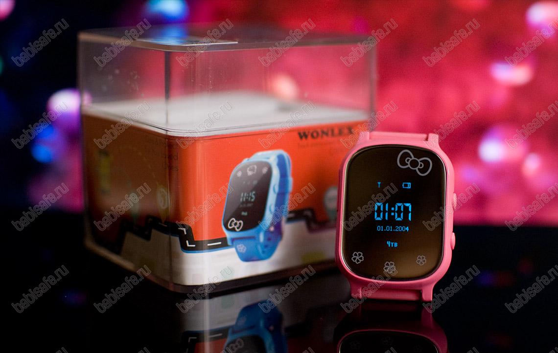 Детские часы телефон с gps трекером GW700 Wonlex розовые