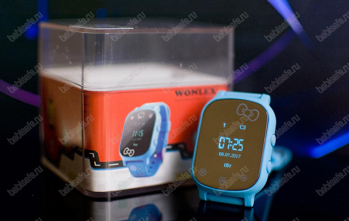 Детские часы телефон с gps трекером GW700 Wonlex голубые