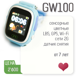 Посмотреть модель детских умных часов GW100 от Wonlex